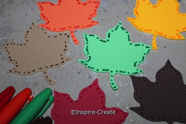 Fall Leaf Magnets.. Outline Craft Foam Leaves with Sharpie Markers