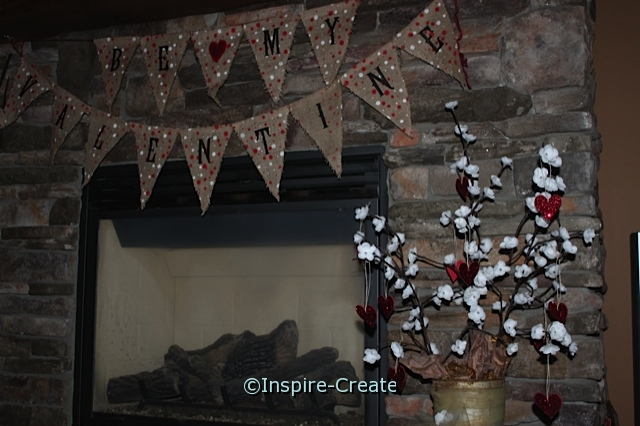 Happy Valentine's Day Mantel Idea with Glitter Hearts