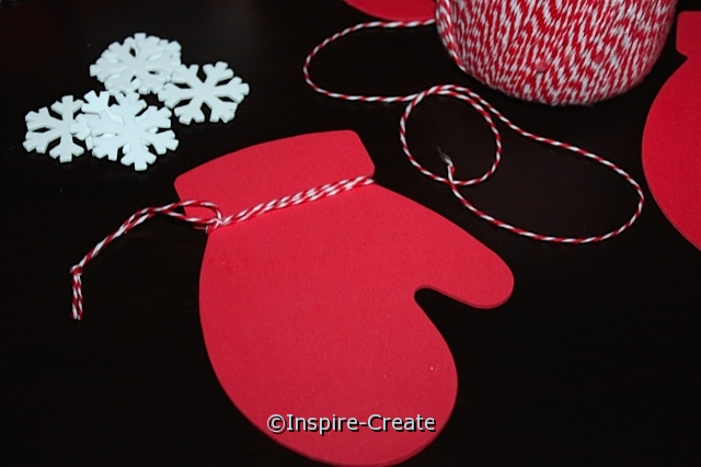 Mitten Ornaments...Wrap Craft Foam with Red Bakers Cotton