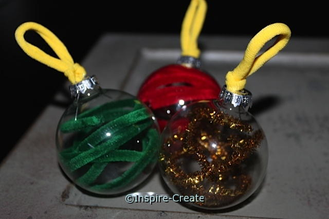 Easy Glass Ornaments made with Chenille Stems & Hair Ties!