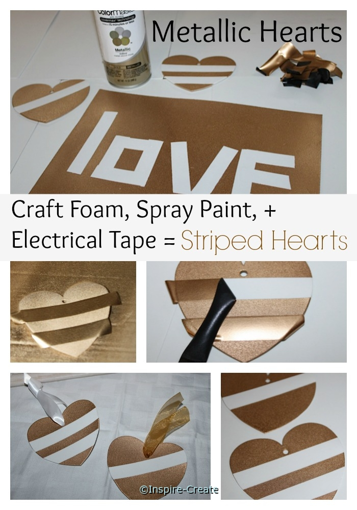 Easy Metallic Hanging Hearts made with Craft Foam & Spray Paint