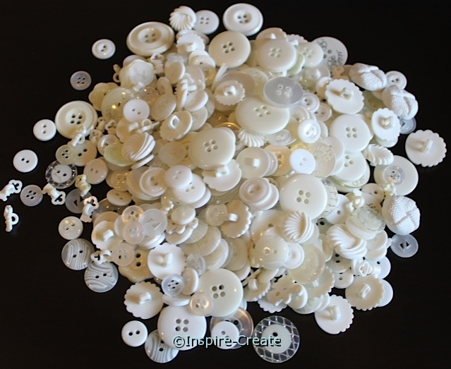 White Craft Buttons (1/2 lb)*
