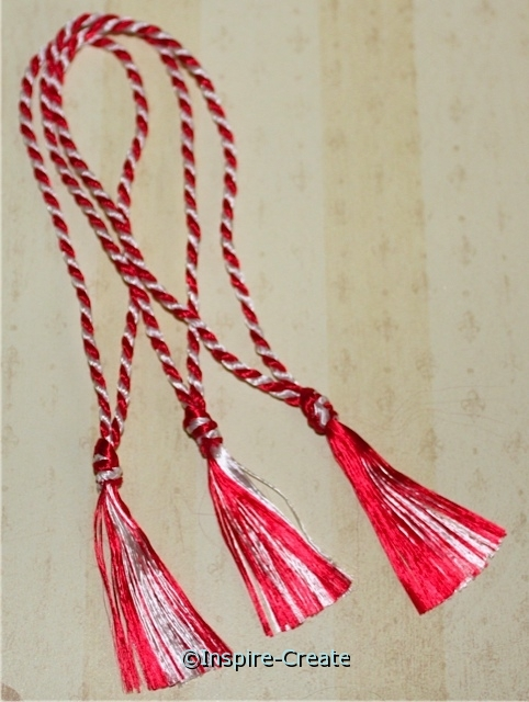 Bookmark Tassels Red/White Twist (50)*