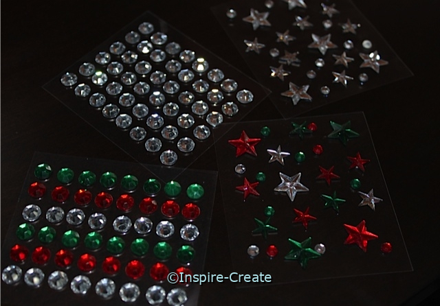 Christmas Star & Dot Stick on Rhinestones (Set of 4)*
