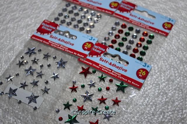 Christmas Star & Dot Stick on Rhinestones (Set of 4)*