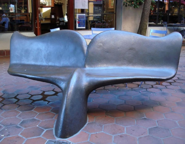 15. Whale fin bench in Santa Barbara in sunny California