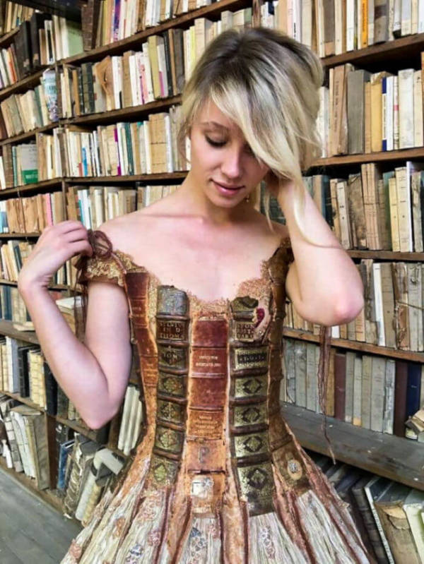 French Designer Creates Unique Dresses From The Spines of Books - 2