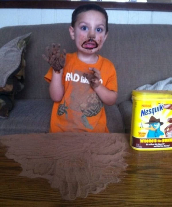 11. Everything is a game. The cocoa powder that the kid just used in the picture was for sure intended to make something.