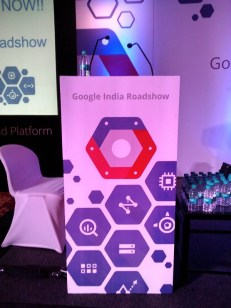google cloud roadshow snap of podium