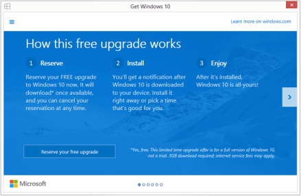 Microsoft offers free Windows 10 update screen 1