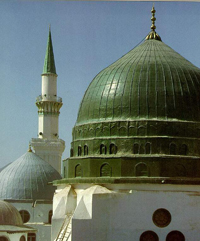 The dome above the Prophet's grave in Medina, Saudi Arabia