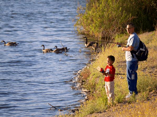 family camping activities fishing