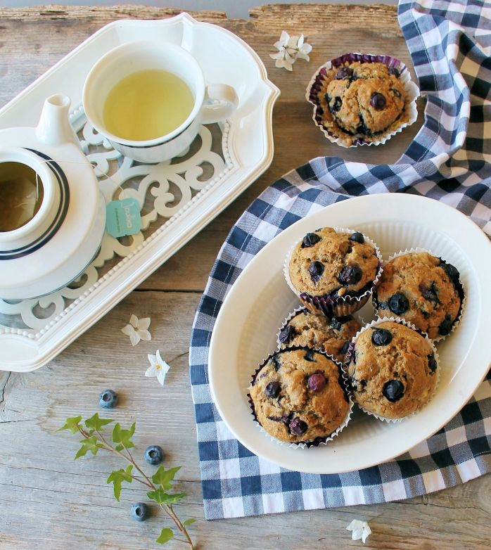 blueberry burst spelt breakfast muffins
