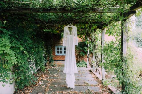Exquisite lace boho wedding dress.