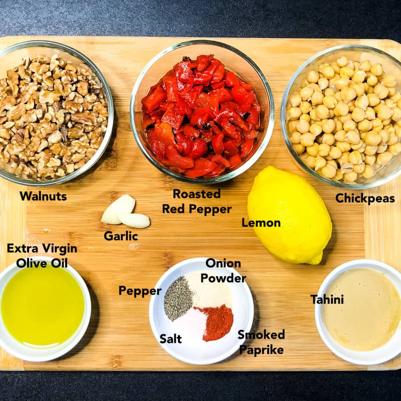 Prepped ingredients on a wood cutting board.