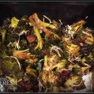 Roasted Broccoli tossed with bacon and parmesan.
