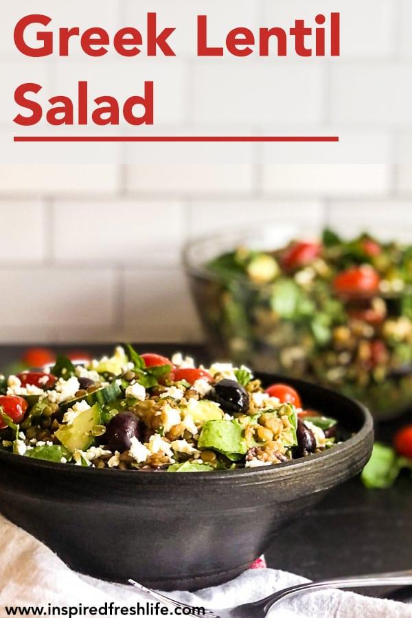 Pinterest image for Greek Lentil Salad.