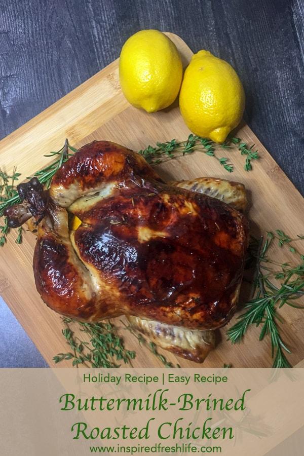 Buttermilk-Brined Roasted Chicken Pinterest image.