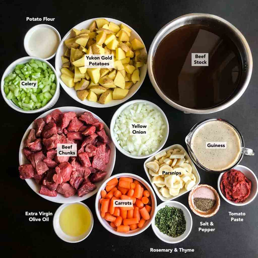 Ingredients prepped in bowls for Irish Beef Stew.