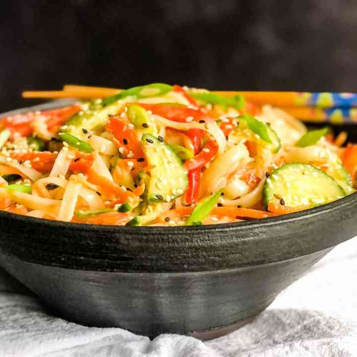 Rice Noodle Salad with Miso Ginger Dressing