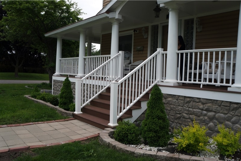 Front Steps After Front Step Replacement Front Steps We | House Main Entrance Steps Design | Half Round | Landscape | Outside | Garden | Front Construction Area House