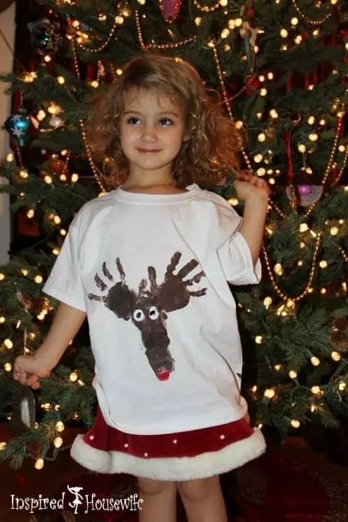 Handprint Footprint Reindeer Shirt