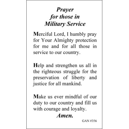 Army , Prayer for those in Military Service Prayer Card