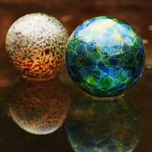 Glass Gazing Balls on Ice