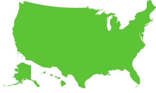 Map of the United States of America filled in Green