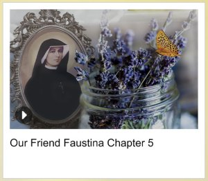 Picture of St. Faustina, flowers, and a butterfly