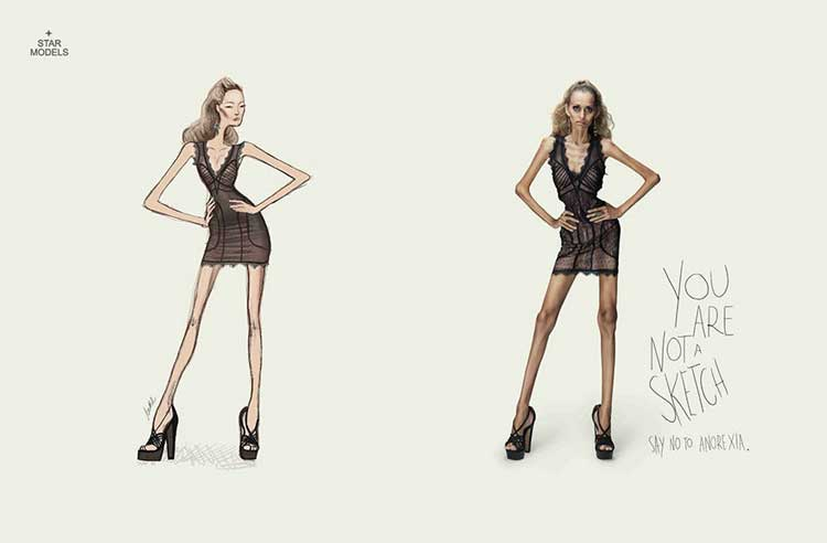 Esempi pubblicità scioccanti - anoressia