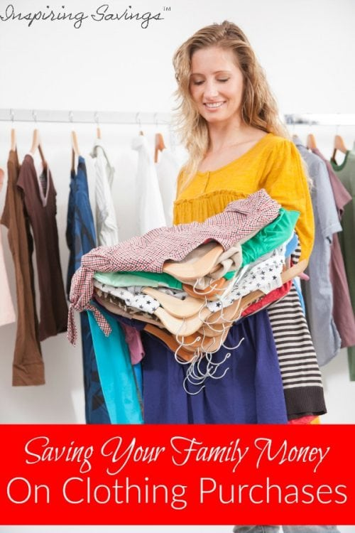 """Woman hold clothing to try on with text overlay """"Saving your family money on clothing purchases"""""""
