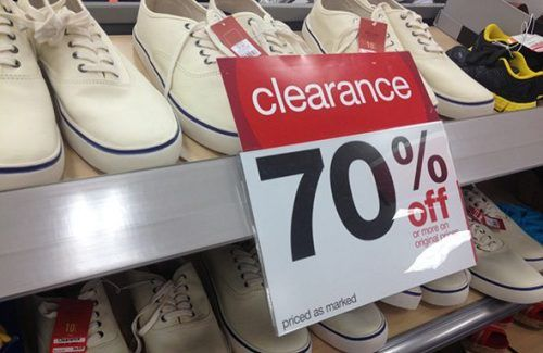 Target 70% off Clearance sign