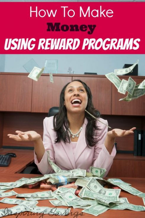 "happy woman at desk throw money in the air with text overlay ""How to make money using reward programs"""