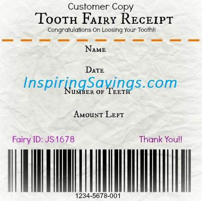 graphic about Free Printable Tooth Fairy Receipt identified as Totally free Printable Teeth Fairy Receipt! - Create Squandering Enamel Enjoyable