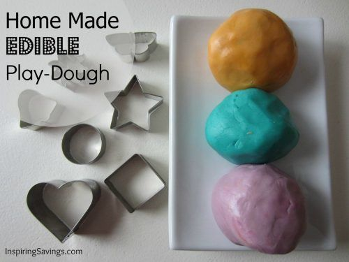 Homemade edible playdough in three different colors
