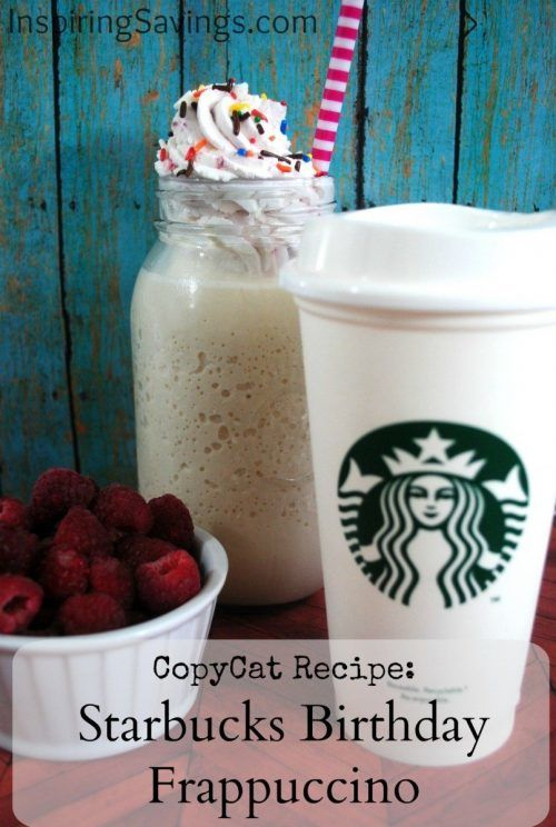 DIY Homemade Copycat Starbucks Birthday Frappuccino! Want to save your money and your waistline?  Learn how you can make your own B-DAY Cake frapp at home with few ingredients that you probably already have in your home! Super EASY. #Frappuccino #birthday #coffeedrink