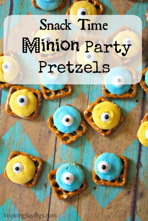 Celebrate all things Minions or Despicable Me with this Minions Snack! Your kids will love helping make this Easy Minion Chocolate Candy Pretzel Snack Recipe. Made with colored white chocolate candy melts & fun googly eyes. #pretzels #minions #snackmix #recipe