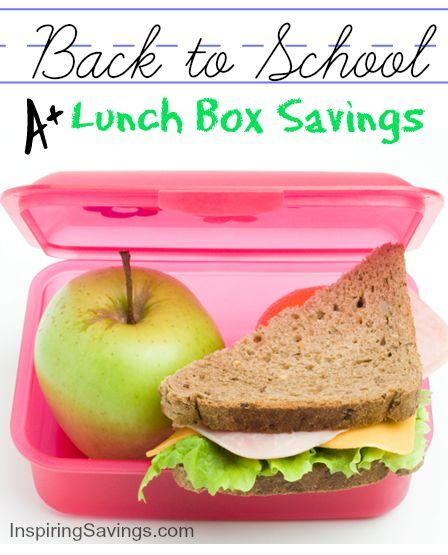 A pink lunch container with apple & half of sandwich - Back to School Lunch Savings