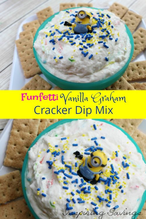 Funfetti Vanilla Graham Cracker Dip - a quick, easy and delicious treat perfect for any occasion! So creamy and made with funfetti cake mix, yogurt, vanilla, cool whip, and sprinkle. Perfect for your next Minion Birthday party or summer get together.#Minion #Dip #Funfetti