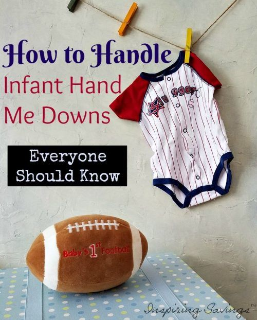 """If you have children, the """"hand me down"""" chain can result in tons of free clothes and toys for your children. And the benefits go far deeper. However, there are some items that don't do well as hand me downs, especially for infants. Save money with these helpful hand me down tips. #savingmoney #handmedown #baby"""