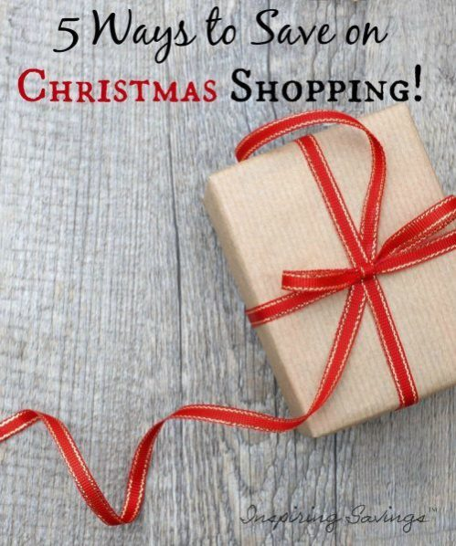 """wrapped Present with text overlay """"5 ways to save on christmas shopping"""""""
