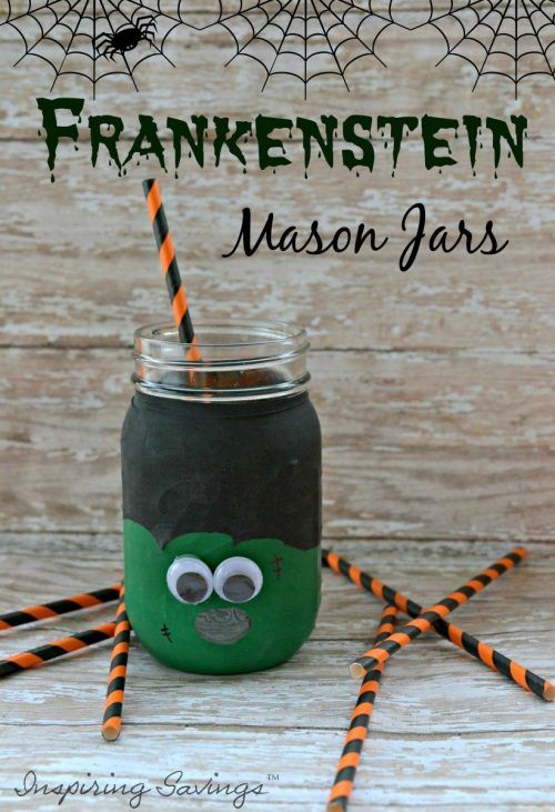 It is the start of fall time fun. Halloween is our favorite holiday. Make your next Halloween party SPOOK-tacular with this easy to put together Frankenstein Mason Jar Beverage Cups. This is a fun craft to do with the kids.