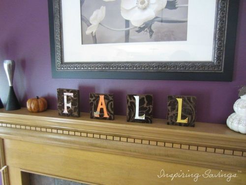 Fall decor lettering on fireplace mantel