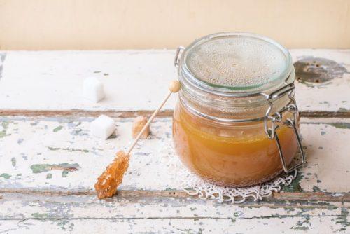 Homemade Gingerbread Coffee Syrup in small mason jar