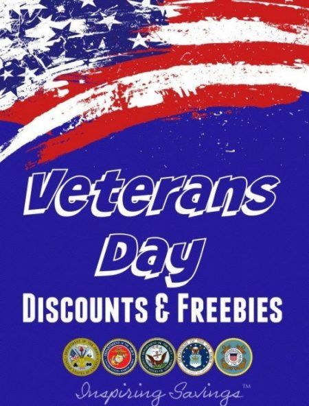 American Flag with text overlay - Veterans Day Discounts & Freebies