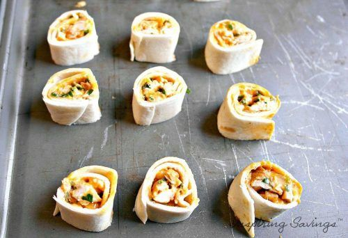 Sliced Pinwheels ready to bake on baking sheet