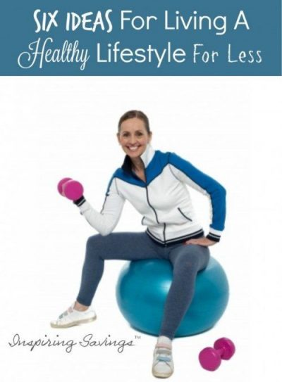 """Female sitting on yoga ball with weight in hand. Text overlay """"Healthy Lifestyle for less"""""""