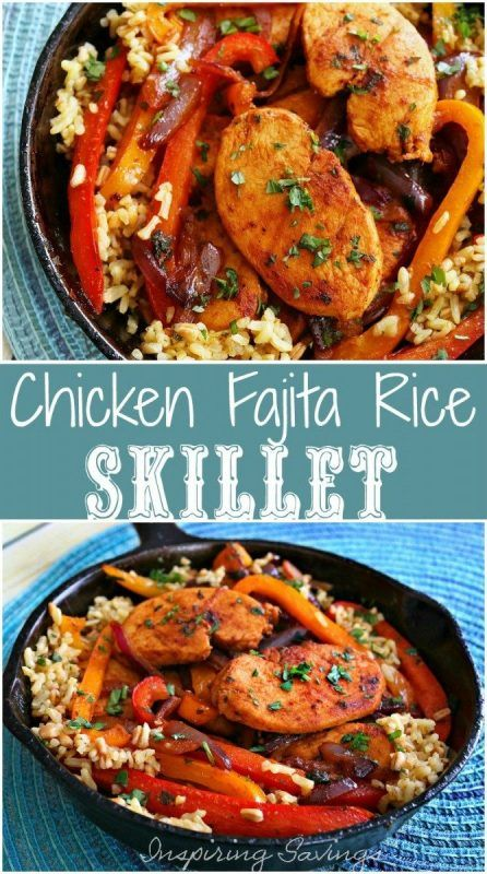 Fajita Style Easy Chicken And Rice in iron skillet
