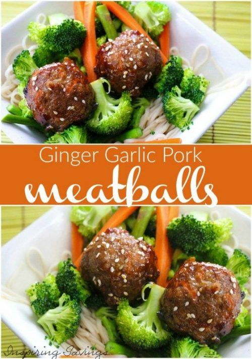 Ginger Garlic Pork Meatballs on Plate Close up view